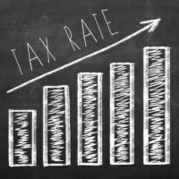 Diagram showing current trend of increasing Tax Rates.